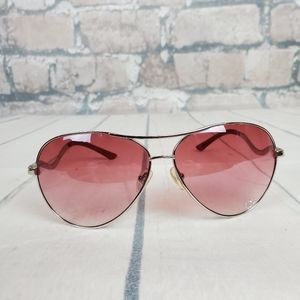 Guess GU7021 Aviator Sunglasses Sliver Pink Heart